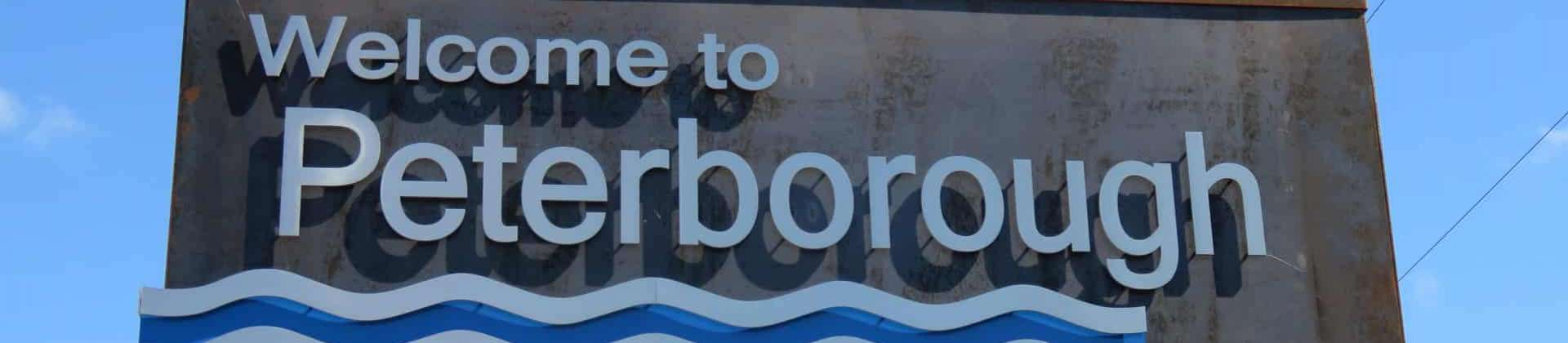 Welcome to Peterborough sign